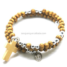 wooden beads fashion wrap jesus rosary bracelet with cross ,hot sale religious rosary bracelet
