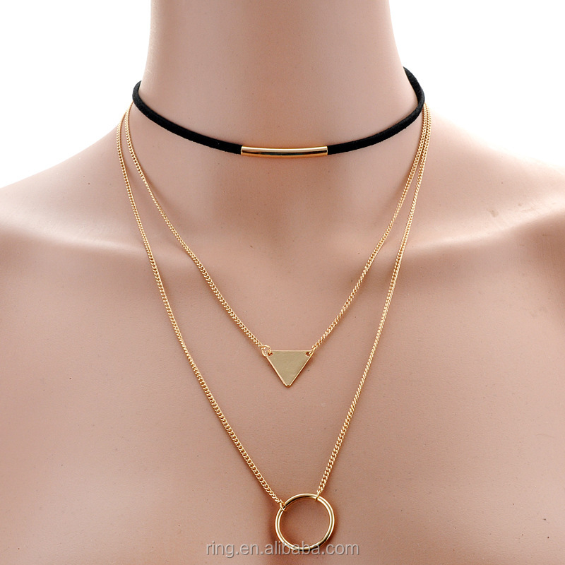 Korea Fashion Triple Layer Leather Collar Chain Choker Necklace Jewelry