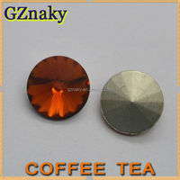 12mm COFFEE TEA Round rivoli crystal faceted glass stones for clothes