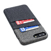 Luxe Card Case by Dockem- Minimalist Synthetic Leather Wallet Case with UltraGrip Twill Canvas Styling