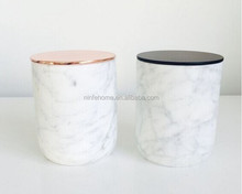 Luxury Scented Candles in Marble Look Ceramic Jar with Metal Lid