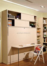 modern fashion folding murphy wall bed with bookshelf and office table