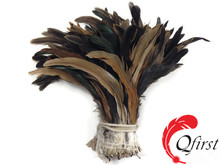 Handmade rooster plume dyed natural brown half bronze coque tail feathers for sale