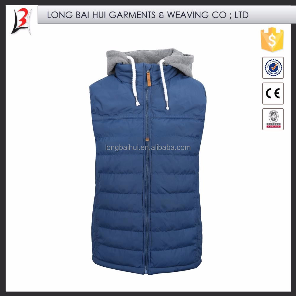 China Manufacturer Durable Outdoor man fashion hooded down vest 2015