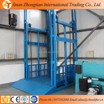 hydraulic cargo lift guide rail elevator wall/mounted indoor outdoor lift