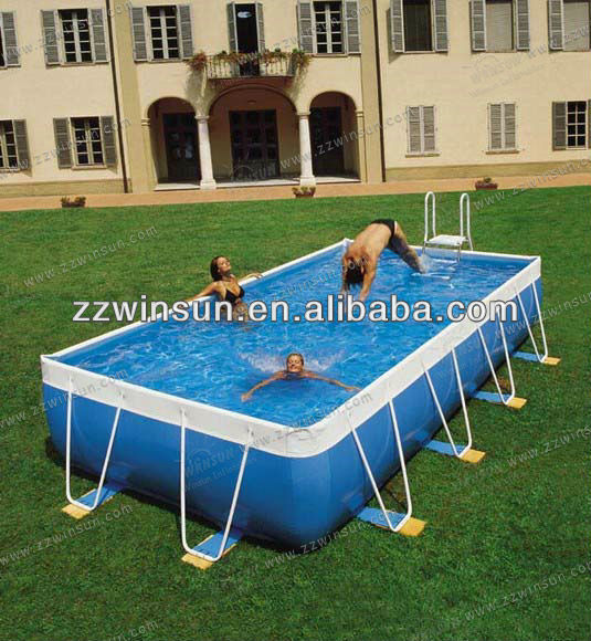 Above ground metal frame outdoor PVC plastic swimming pool