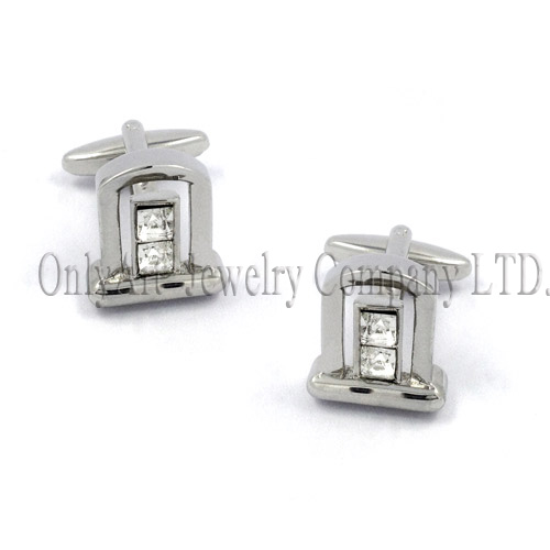 white crytal hand set splendid silver 925 cufflinks