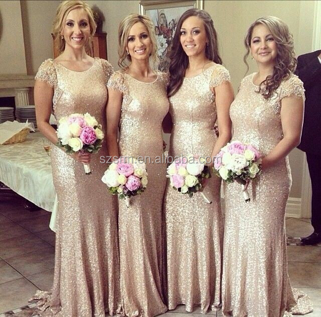 New Fashion Lace Cap Sleeves Sequined vestido de noite Long Gold Bridesmaid Dress Maid of Honor Women Gown ZBD-272