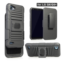 Rugged Holster Robot Heavy Duty Cover Shockproof Car Holder Holster Combo Phone Case for LG Q6+