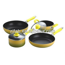New and Eco-friendly Yellow and Black 6Pcs Aluminium Nonstick Cookware Set with Bakelite Handle