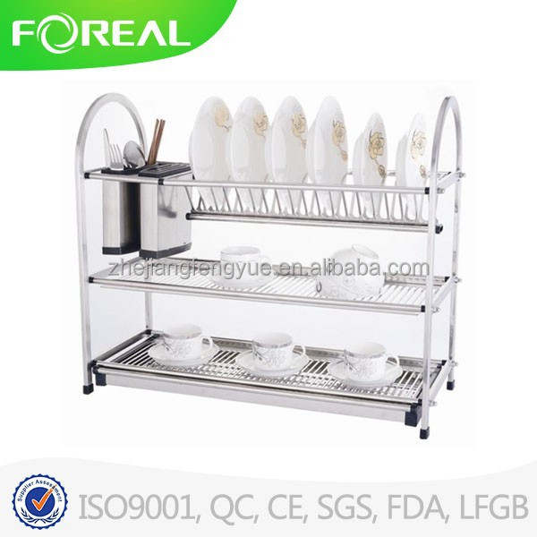 Stainless steel 3layer dish rack/dish holder /dish drainer