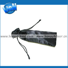black satin pen pouch with drawstring