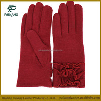 Fashion special accessories 100% wool gloves in red for women
