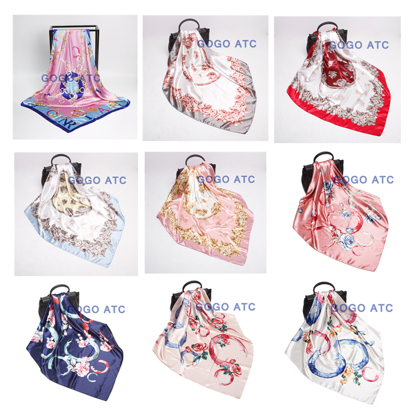 Latest Fashionable Multicolor Printing Ladies Printing Silk Satin Scarf