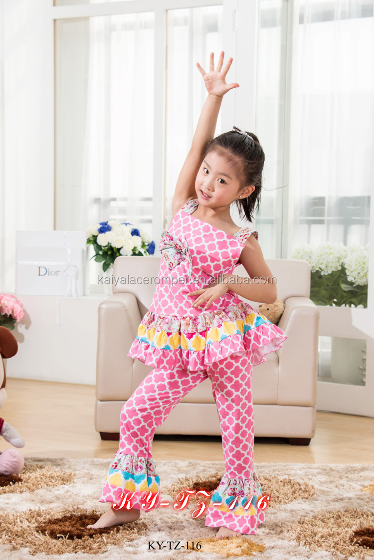Pretty Girls Floral Prints Elegant and Graceful Tops and Pants Outfits for Kids