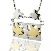 Puzzles personality titanium steel lovers sports necklace pendant