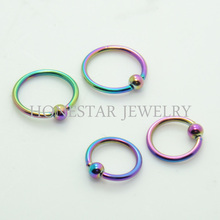 Best selling fashion rainbow BCR cheap piercing nipple nose ring
