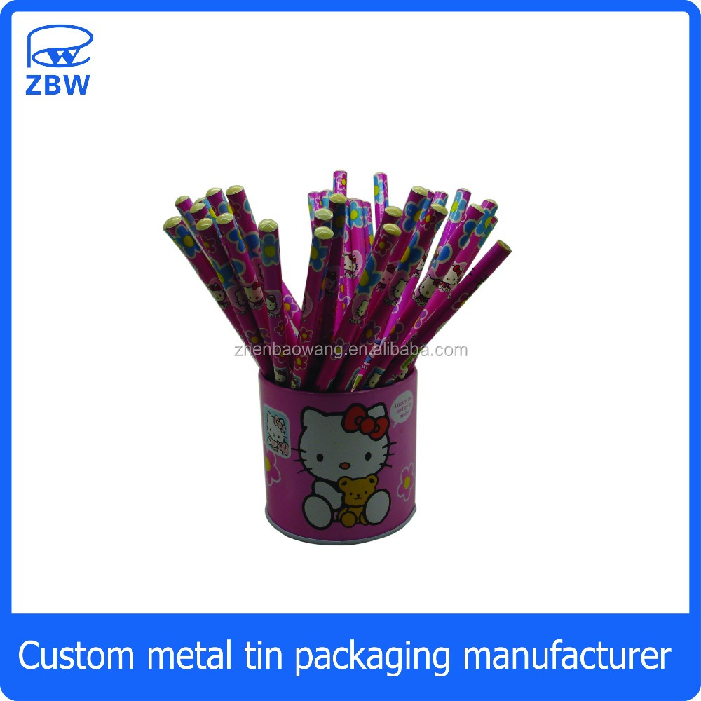 Desk metal pen holder round tin pen holder with pencil
