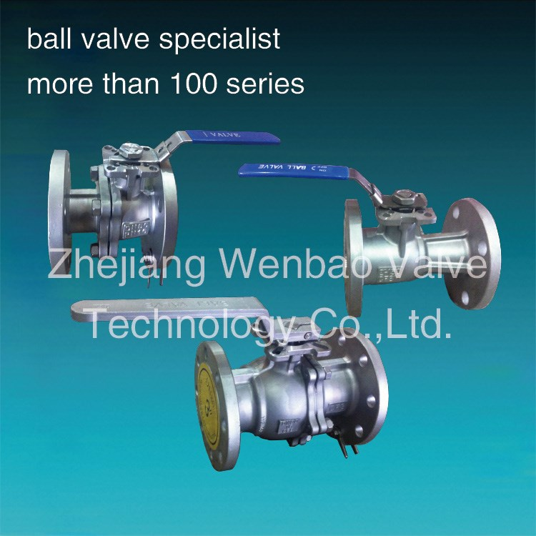 1pc rb 2pc fb flanged Ball valve with Handle lever / red Hanlde manual ball valve