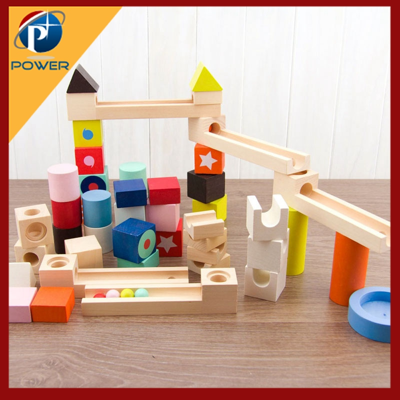 Kids Learning Education Wooden Rail Rolling Ball Building Blocks Toys