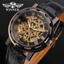 Gun Color T- winner Watch 2018 Favor Skeleton Hand Wind Mechanical Watches For Man