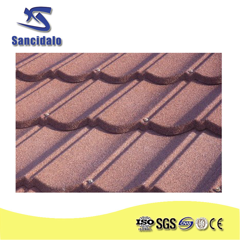 sancidalo best price Aluminum-zinc Galvanized Sheet Material stone coated steel roofing tile