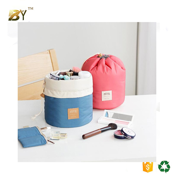 High Capacity Barrel Shaped Travel Toiletry Drawstring Round Cotton Cosmetic Bag