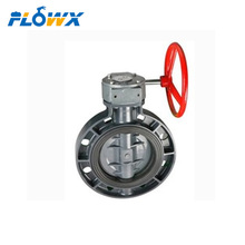 Manual worm gear operated Plastic CPVC UPVC Wafer butterfly valve with 8 holes