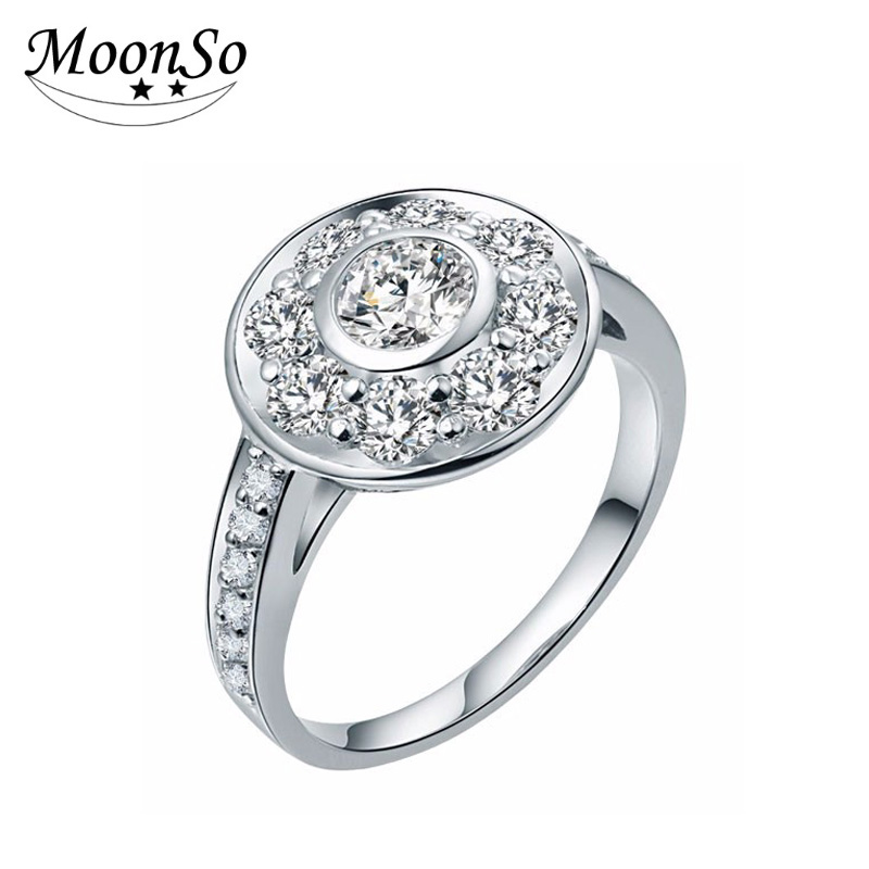 MOONSO Wholesale 925 Sterling Silver High Quality Engagement Ring Wedding Ring Fashion Jewelry For Women AR1931S