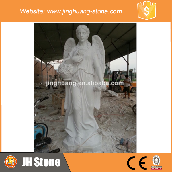 Prefabricated White Female Angel Sculpture Standing Tall Angel Statue