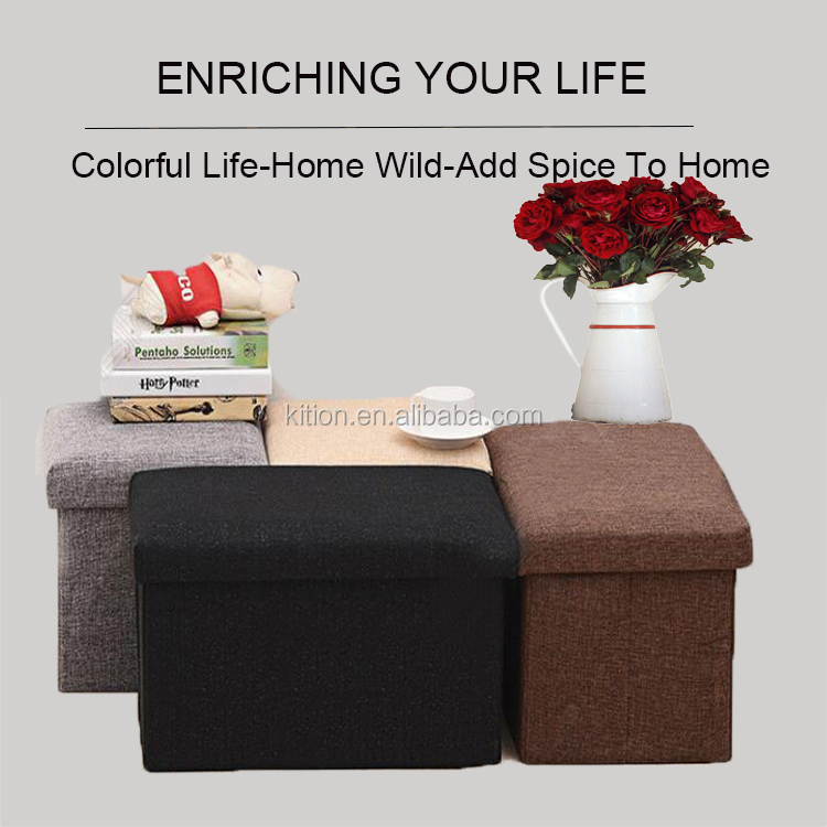 2018 Collapsible solid color fabric ottoman