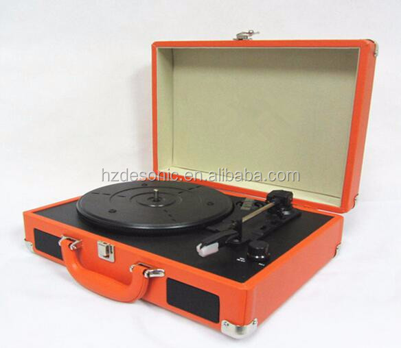 New pu retro vinyl usb bluetooth suitcase record player and radio turntable - Lecteur vinyle retro ...