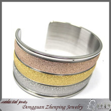 women's big charm sand finished cuff arm bangle