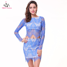 Blue Women Sexy Transparent Lace Dress Hot Young Ladies Girls See Through Club Wear Slim Sheer Mesh Night Party Pub Dress