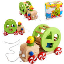 Pulling Duck Toddler Toy Car Baby educational Wooden Pull String tractor Toys