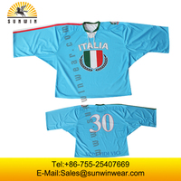 Custom design Blue Ice hockey Jersey with you logo ,brand ,design
