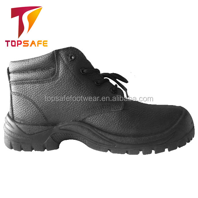 2017 lightweight black embossed leather steal toe cap half cut safety footwear for workers