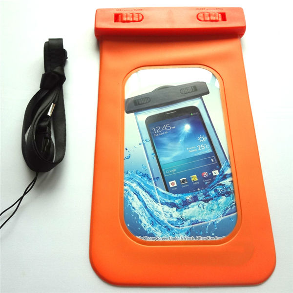 Orange PVC traveling Waterproof phone pouch for galaxy s4 minions cover