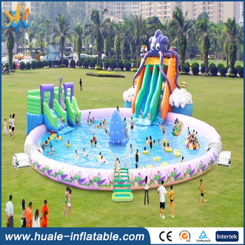 Giant inflatable water park with large inflatable swimming pool from Guangzhou inflatable factory