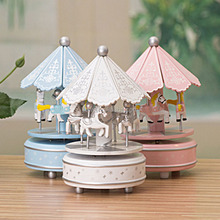 Creative Desktop Decoration Carousels wood craft colorful music box