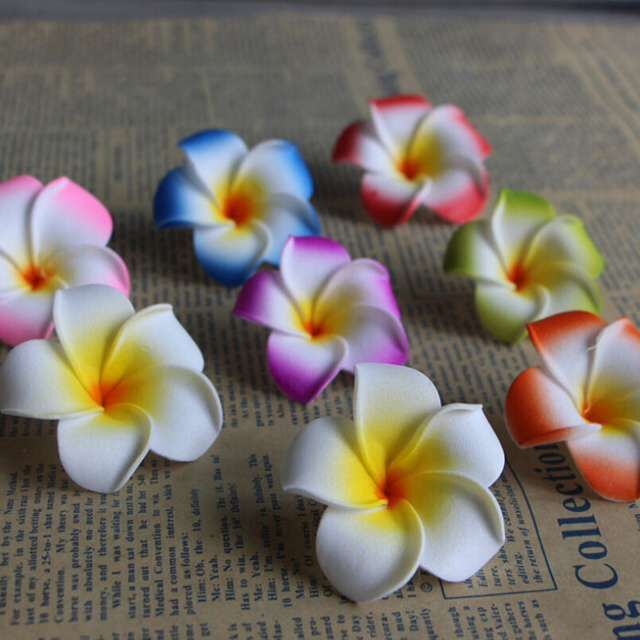 Wholesale artificial flowers foam flower plumeria with clips
