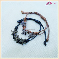 Latest Designs Handmade Starfish Leather Cord Bracelet Charms
