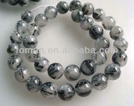 12mm round loose faceted black rutilated quartz beads natural stone names
