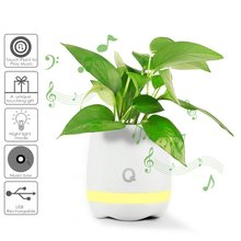 Smart Music Flower Pot Planter with BT Speaker and Night Light Touch Piano Music Flower Pot