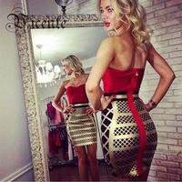Hot 2016 New Free Shipping! 2016 New Stunning Fashion Red Patchwork Gold Grid Oil Print Celebrity Party Strapless HL Bandage Dre