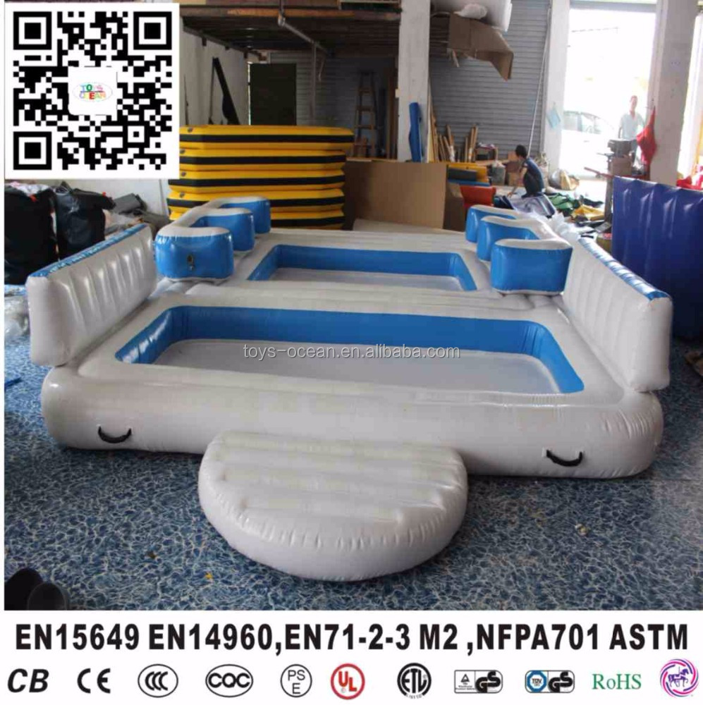 inflatable water floating island/Inflatable floating bar with tent /6 person floating island