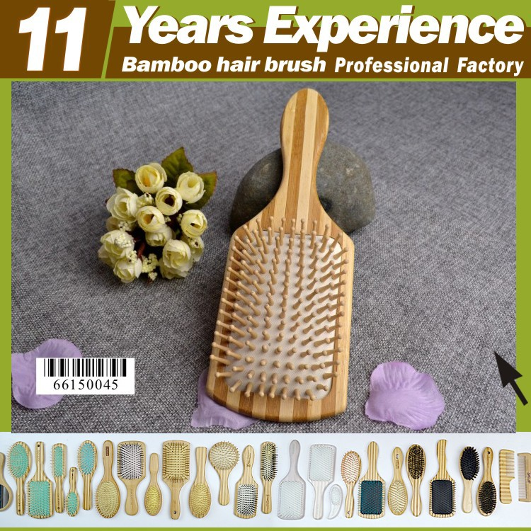 2016 fishion design professional factory top quality private label Eco-Friendly Bamboo hair washing brush