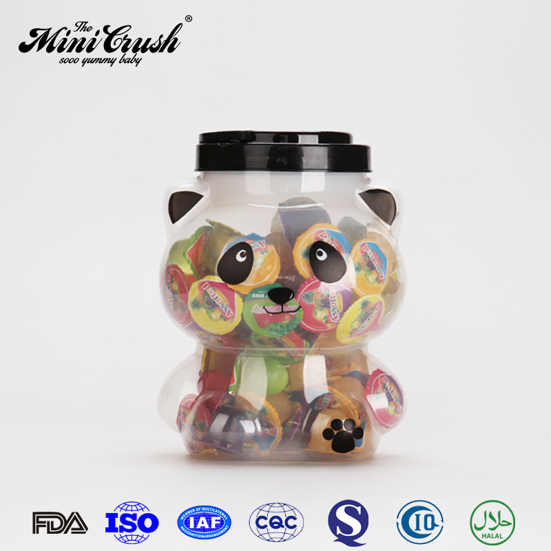 Food container snack food assorted fruit jelly pudding in panda jar