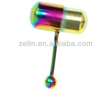 Rainbow Titanium Lix Vibrator Tongue Ring Barbell