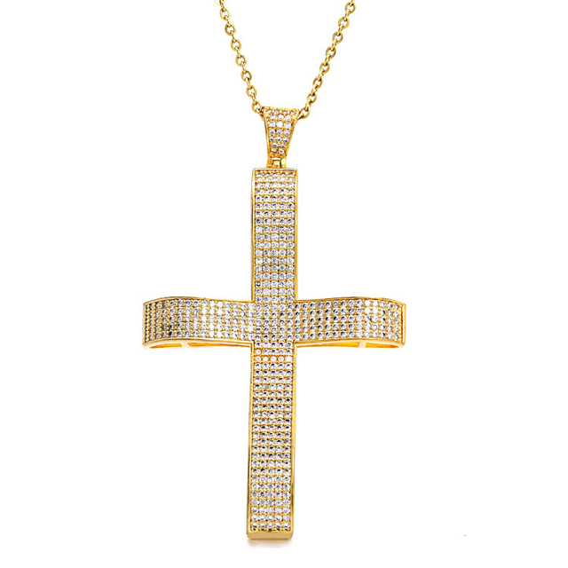 Marlary Religion Jewelry Mens Hip Hop Gold Plated Mini Jesus Cross Pendant Cz Charm Necklace